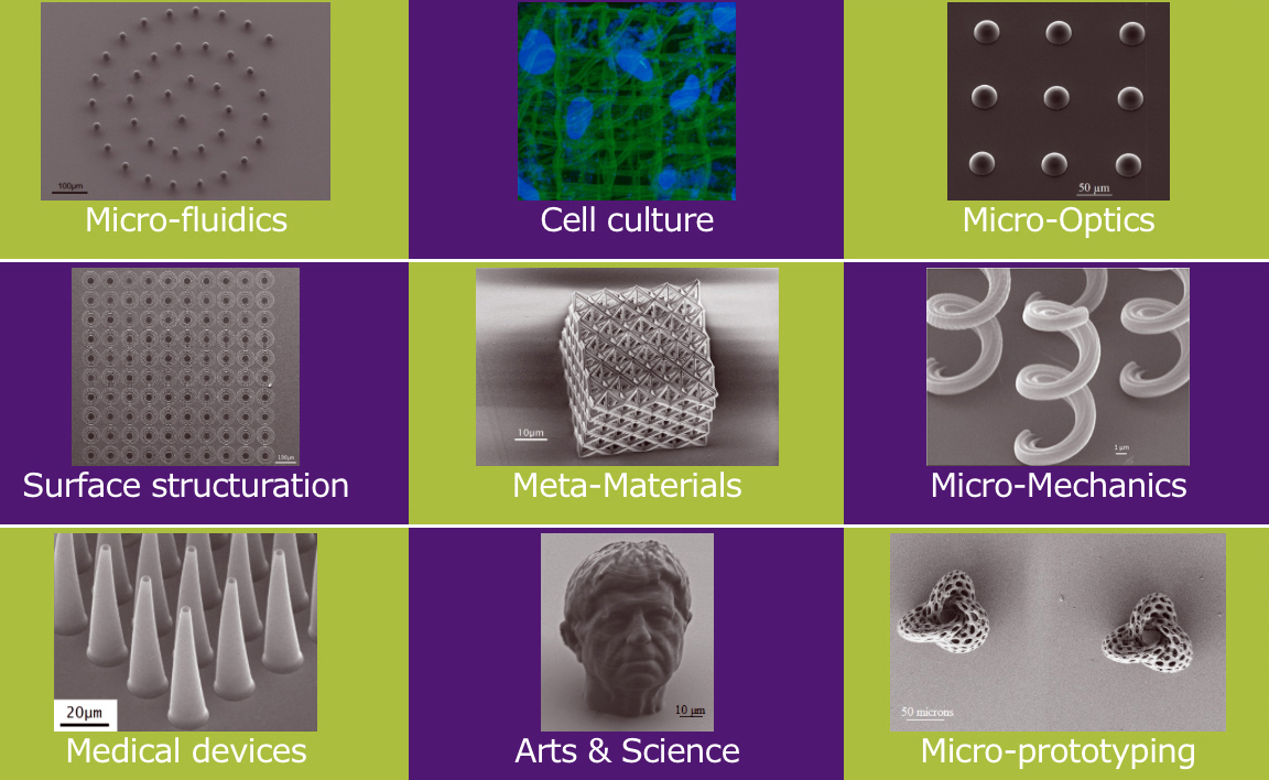 Altraspin 3D-prints parts for applications requiring high precision and a quality surface finish: micro-optics, micro-sensors, metamaterials, cell culture, tissue engineering, microrobotics and micromechanics.