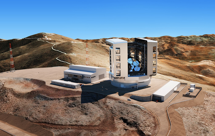 Graphic showing proposed GMTO telescope set-up in Chile's Atacama Desert.