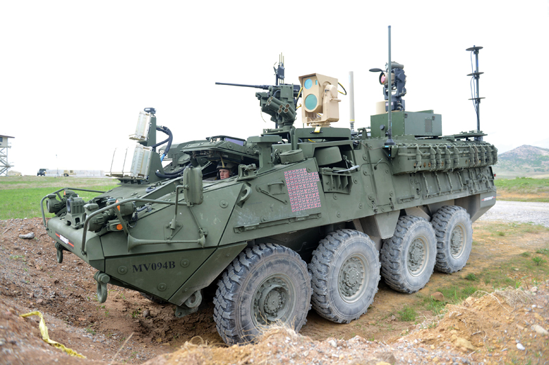 A MEHEL-equipped Stryker military vehicle.