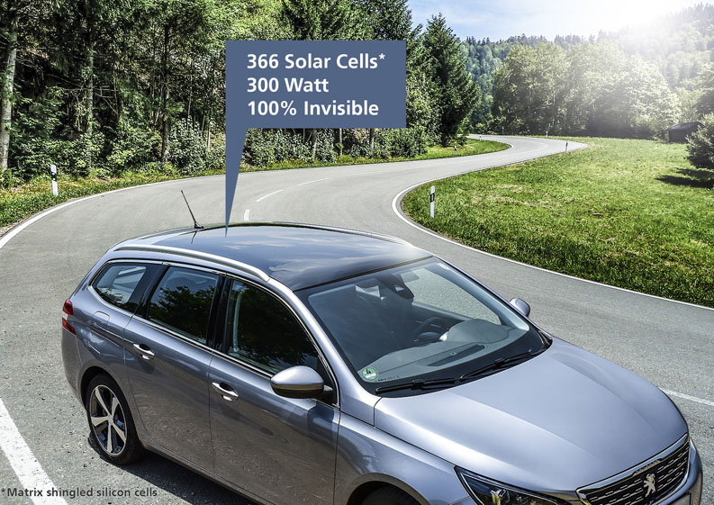 Hidden power: photovoltaics integrated into a car roof.