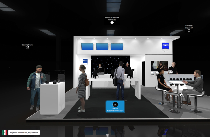 Zeiss's virtual show booth where customers can view products and interact with experts.