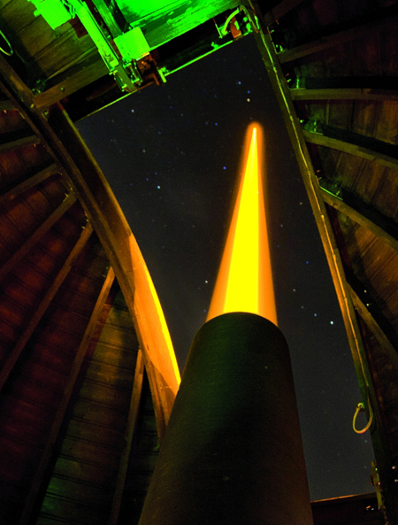 Burning bright: ESO's portable guide star laser unit under test.