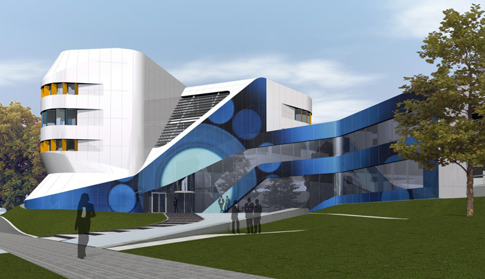 How the Fraunhofer IAO building in Stuttgart could be fitted with a colored solar façade.