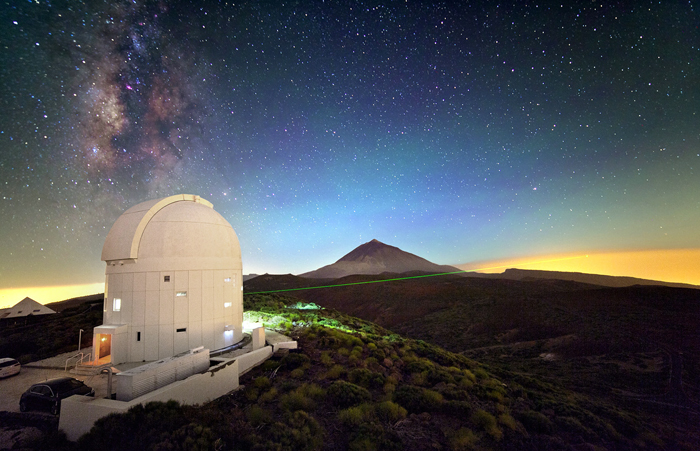 Laser transmitted from Optical Ground Station on Tenerife.