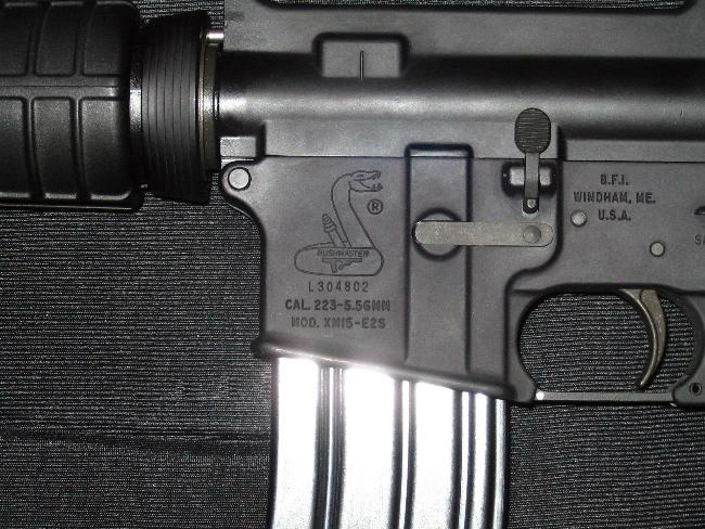 How the laser marking can appear on a gun.