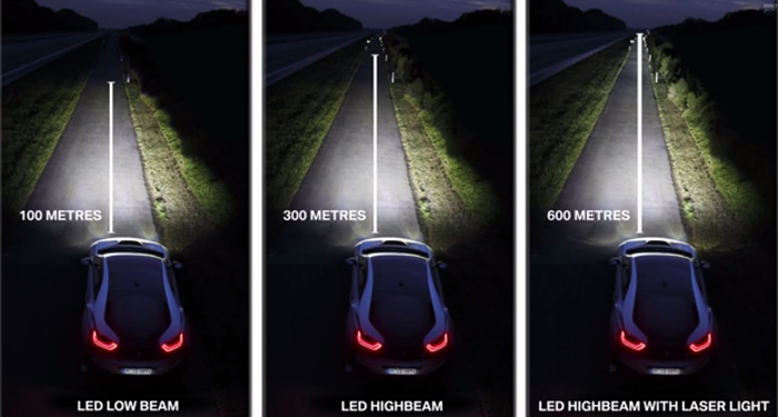 Osram's LARP technology power's the high beams in BMW's i8 model.