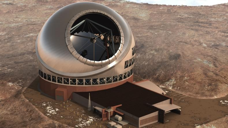Artist's impression of TMT and site