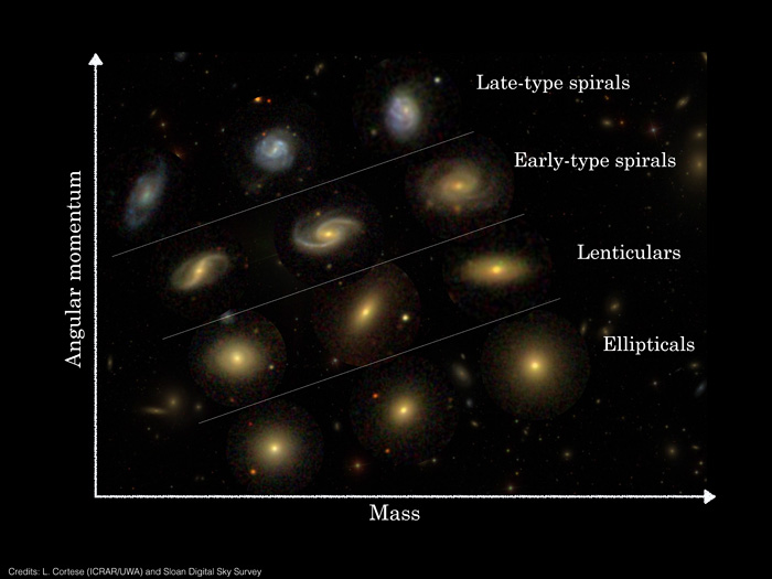 Position of Hubble sequence galaxy types in mass-angular momentum 2D classification.