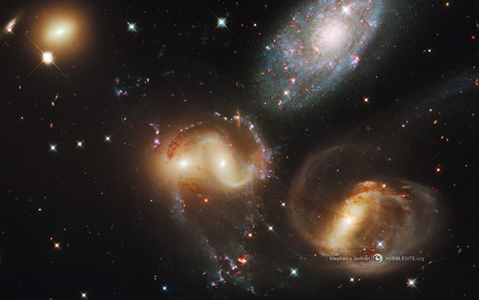Galaxies of Stephan's Quintet in Pegasus, observed by the Hubble Space Telescope.