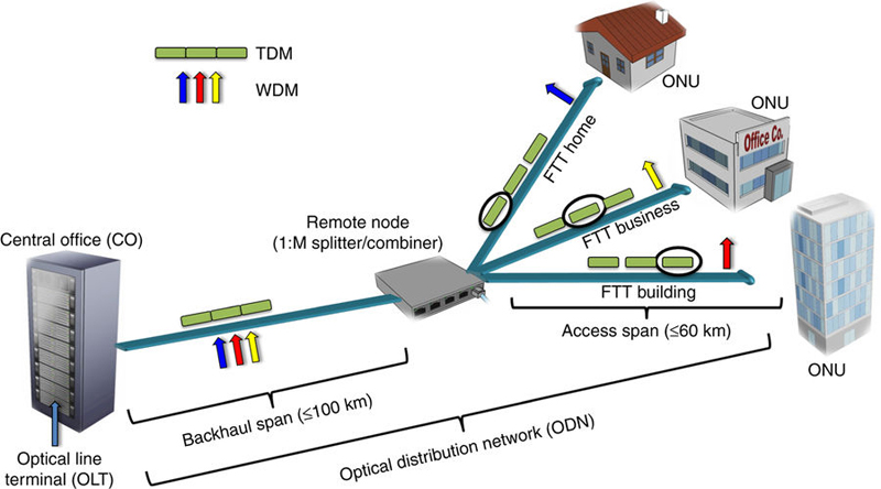 Bidirectional WDM transmission over fibre via simplified optical coherent access transceiver.