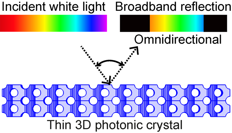 Thin 3D photonic crystal with diamond-like nanostructure illuminated by white light.