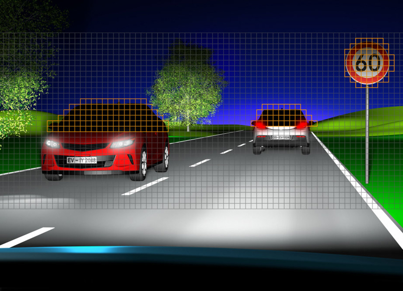 Selective switch-off of LED pixels prevents dazzling oncoming drivers.