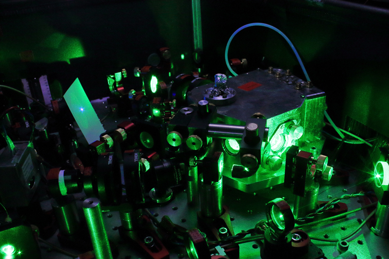 Good to go: Set up of the optical atomic clock developed at PTB's QUEST Institute.