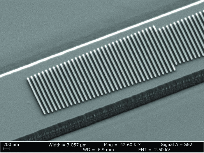 Scanning electron microscope (SEM) image of the fabricated device.