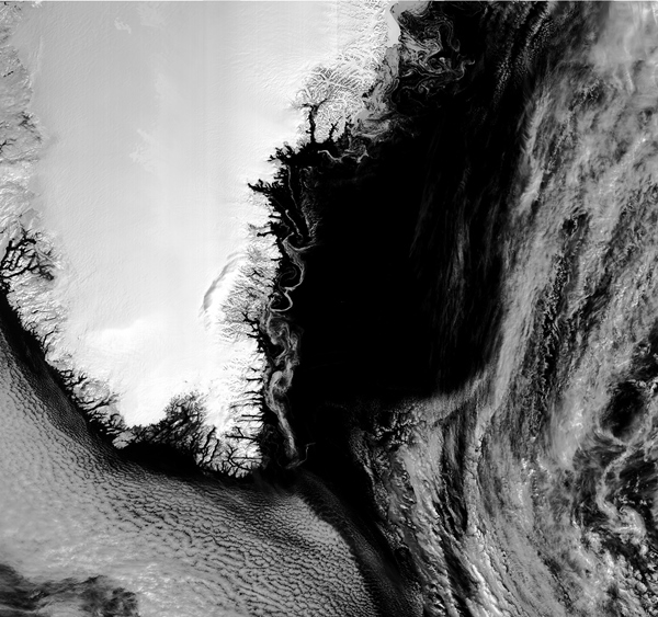 Swirls of sea ice captured by 21-band Sentinel-3B imager
