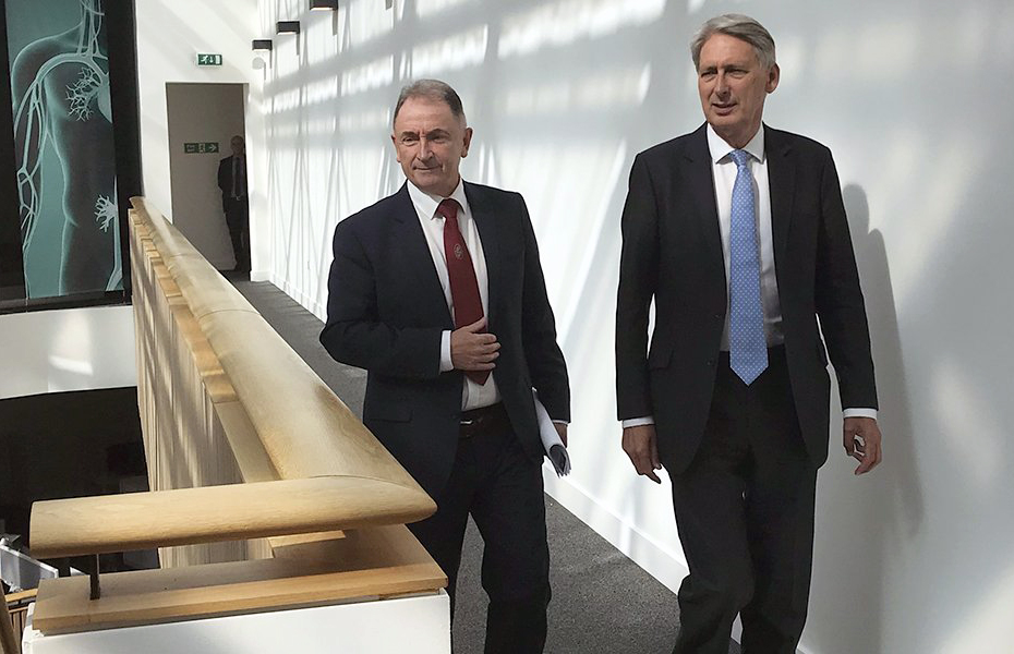 Philip Hammond with Prof. Sir Jim McDonald, Strathclyde's Principal Professor.