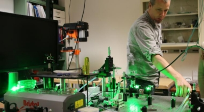 In the laser lab: Chris Hessenius