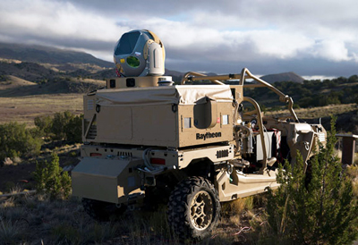 On maneuvers: Raytheon's anti-drone mobile high energy laser system.
