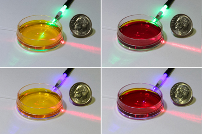 Phenol red indicator solution changes color depending on acidity. Click for info.