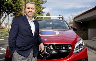 Louay Eldada, CEO of Quanergy, with a lidar sensor-enabled Mercedes 450T.