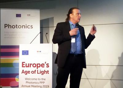Sebastian Krug presents the first joint Eureka-Photonics21 Mirror Group call.