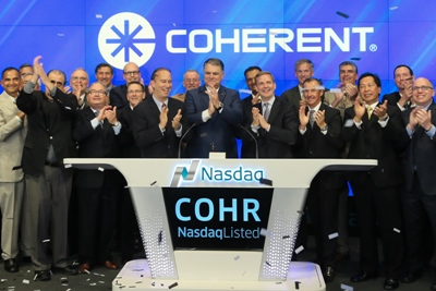 Coherent CEO John Ambroseo rings Nasdaq opening bell