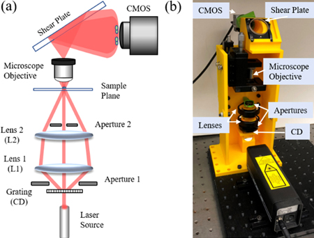 Much scope: (a) optical configuration; (b) 3D-printed experimental system.