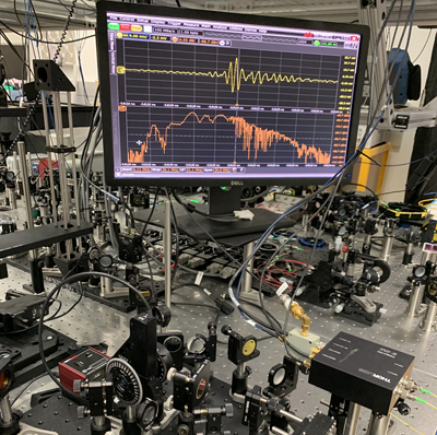 Tabletop frequency comb set up identifies molecules based on IR absorption.