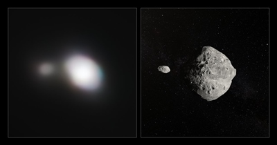 Asteroid '199 KW4' - as seen by SPHERE, and artist's impression