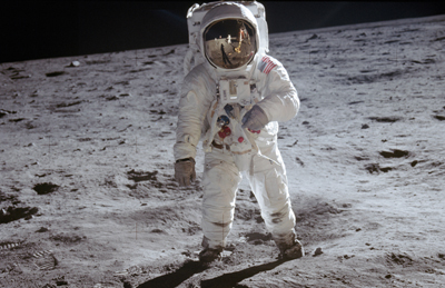 Man in the Moon: Neil Armstrong's classic photograph of Buzz Aldrin.