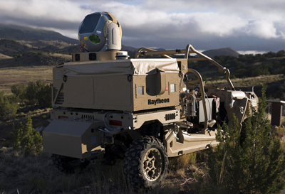 On patrol: Raytheon's mobile high energy laser looks out into a wide-open sky.