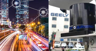 Smart city apps and Lotus car fitted with Quanergy's S3-8 solid-state LiDAR.