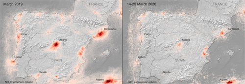 Aire más fresco: Nitrogen dioxide levels over Spain, before (left) and after lockdown (right).