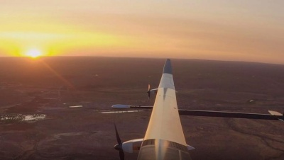 Sunny side up: Flying over the RAAF Woomera Test Range in South Australia.