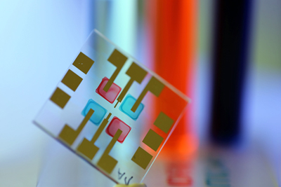 Color-selective organic sensors inkjet printed with semiconducting inks.