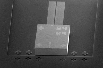 SEM image of an InP DFB laser assembled on a Si photonics chip.