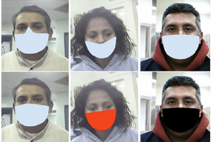 Digitally applied face mask variations used in NIST study.