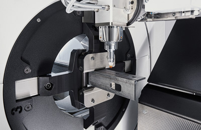 TruLaser Tube 3000 fiber features a self-centering clamping system.