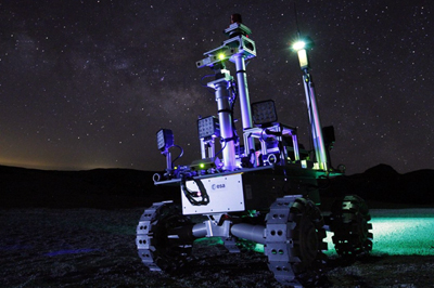 Dark side of the moon: laser-powered rover being tested at night.