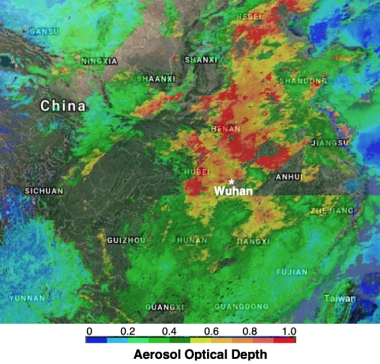 Aerosol optical depth data over China
