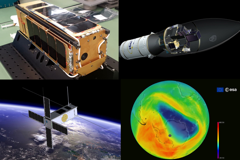 Artist's impressions: from top left, PICASSO prepared for integration; Vega VV16 with SSMS and SAT-AIS pillars; ozone hole over Antarctica; Cubesat in orbit.