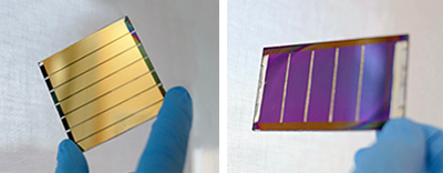 Colored semi-transparent versions of a perovskite solar mini module.
