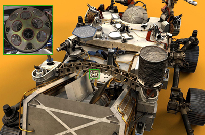 Visible near the center of Perseverance rover is the palm-sized LaRA (green box).