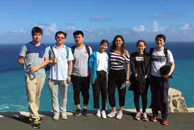 Aloha! Prof. Yi Zuo, second left, with students at University of Hawaii at Manoa.