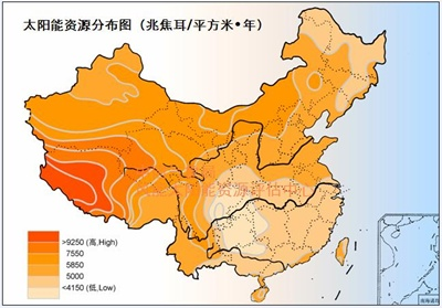 China sunshine map