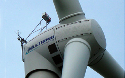 Wind power: the laser can measure the whole wind-field in front of a turbine.