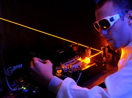 The future's orange: Toptica's 20W, 589 nm, guide star laser system.