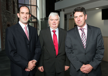 Bill Henry, CCO, InfiniLED; Michael Grufferty, Tyndall Institute, and Joe O'Keeffe, CEO, InfiniLED.