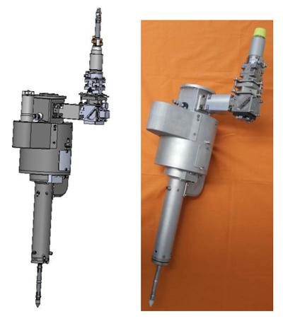 Orbital laser processor: 3D view and working mechanical prototype.