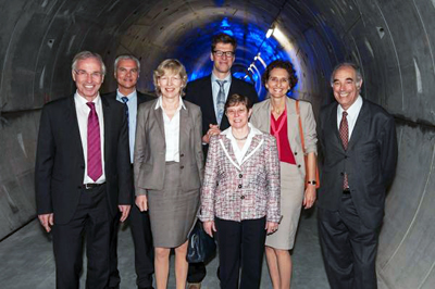 Opening time: VIPs take a trip underground to view XFEL site.